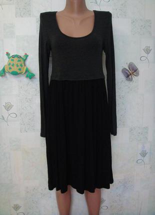 Трикотажное платье миди с длинным рукавом 44-46 размер