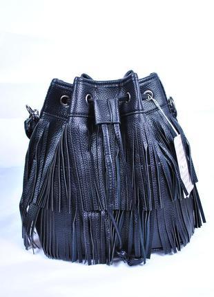 Сумка мешок с бахромой, стильный рюкзак
