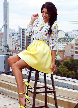 Желтая неопреновая юбка reserved