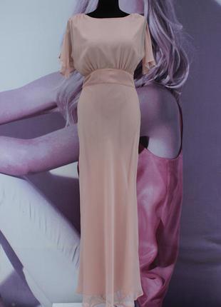 Красивое нюдовое платье в пол asos