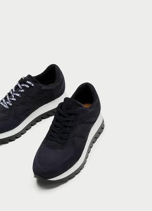 Новые контрастные кожаные, комбинированнык кроссовки на платформе zara (36-40)