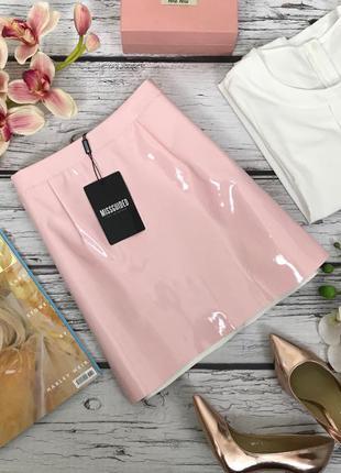 Стильная юбка из лакированной ткани цвета чайной розы  ki1803155  missguided