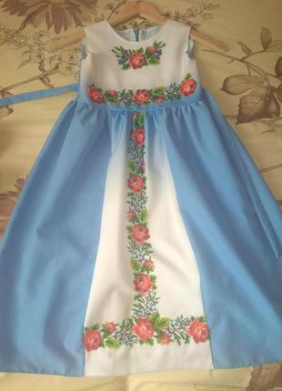 Платье вышито  в ручную чешским бисером