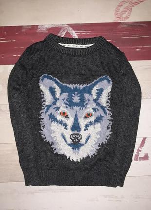 Крутанский свитер с волком fatface на 4-6 лет