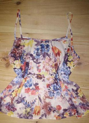 Блуза atmosphere  в бельевом стиле принт цветы