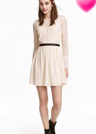 Нежное кружевное, гипюровое платье мини от h&m.