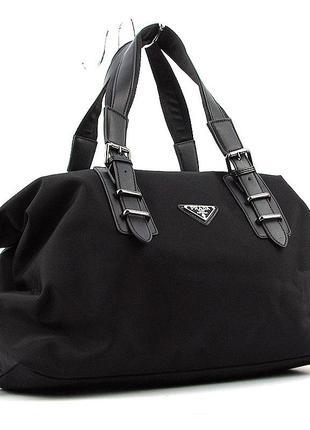 Большая текстильная дорожная серная мягкая сумка на плечо