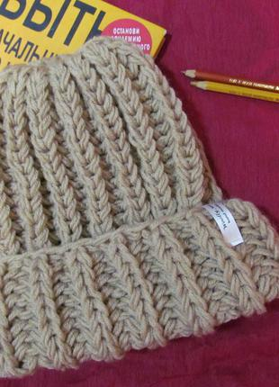 Sale! новая обьемная шапка крупной вязки цвета беж hand made