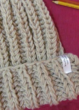 Sale! новая обьемная шапка крупной вязки цвета беж hand made2