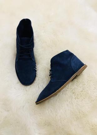 Кожаные ботинки цвет синий