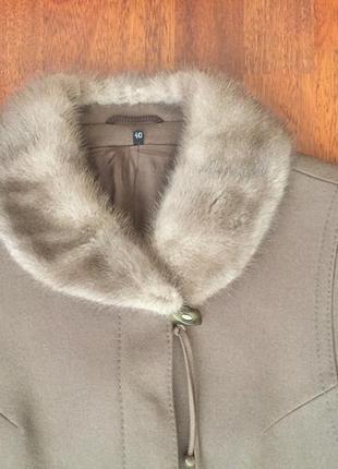 Пальто шерсть, воротник норка