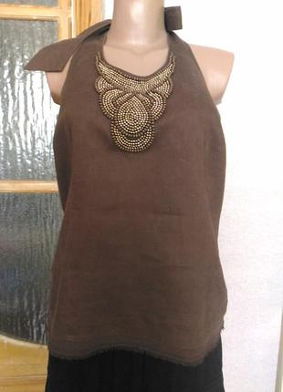Блуза льняная с открытой спиной)