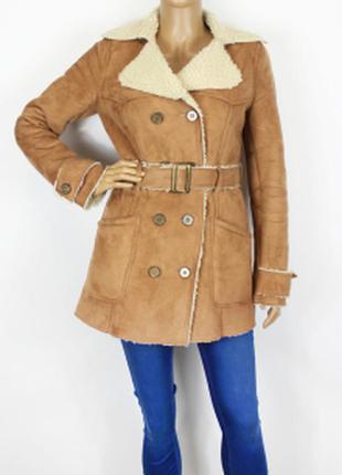 Дубленка пальто куртка коричневая zara
