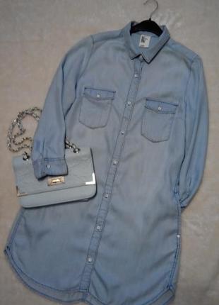 Джинсовое платье рубашка размер 6-8 h&m