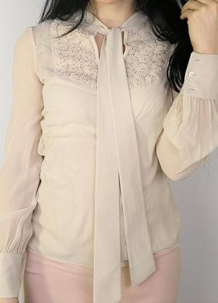 Нежная блузка с топом от дорогого бренда 161548 karen millen размер uk8/36 (s) нюдовая