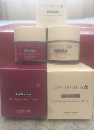 Набор дневного и ночног  крема для лица spf 15 optimals age revive 50 мл.