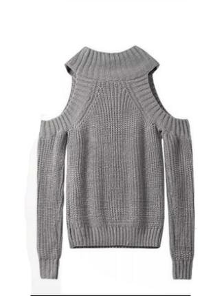 Вязанный свитер с открытыми плечами h&m кофта вязка рубчик коттоновый гольф водолазка