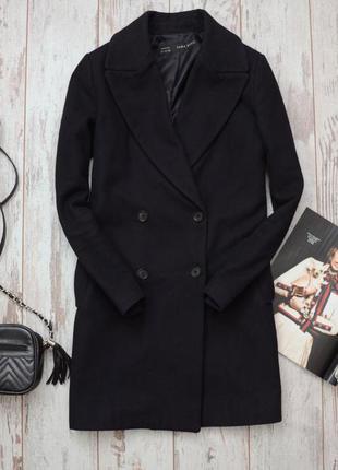 Шерстяное двубортное пальто темно синее zara trafaluc прямое классическое