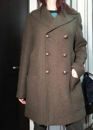 Пальто m&s collection marks & spencer оливкового цвета