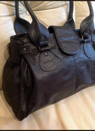 Объемная кожаная сумка – 100% натуральная кожа бизона