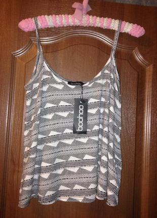 Стильный топ блузка блуза boohoo из мягкого трикотажа р.12 l