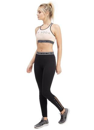 Спортивные стильные обтягивающие эластичные лосины леггинсы штаны для спорта с сеткой