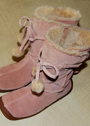 Clarcs -  отличные  кожаные замшевые сапожки р. 37 (по стельке 24 см), великобритания