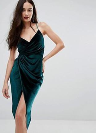 Черное платье комбинация /платье в бельевом стиле / платье на запах boohoo night