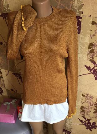 Asos лонгслив джемпер кофта свитер песочный с блеском