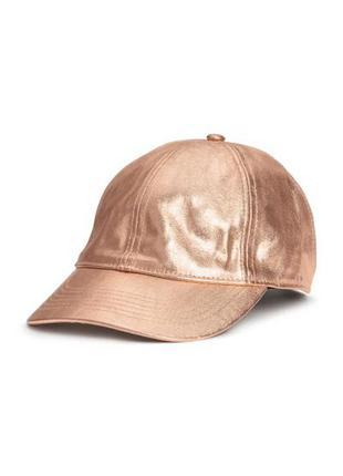 Новая золотистая бейсболка, кепка, h&m