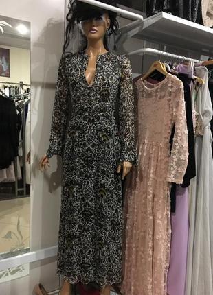 Новорічний розпродаж!!! вишукана довга сукня з принтом від zara