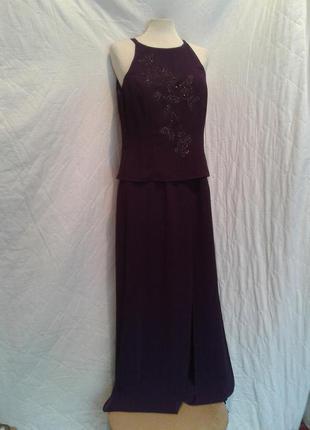 Элегантный шифоновый фиолетовый комбинезон-платье,s-m.4 фото