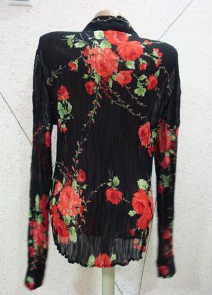 Размер s-m красивая нарядная жатая прозрачная блуза в розы состояние идеальное