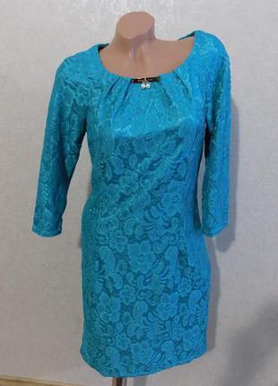 Платье атласное с гипюром нарядное бирюза размер 48