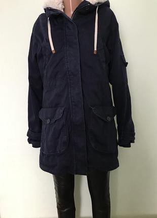 Парка синяя zara куртка мех отстёгивается зима осень