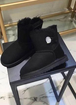 Акция!! ugg bailey button mini bling black. мини с пуговицей кристалом