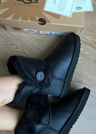 Акция! ugg bailey button metallic black. угги с пропиткой!