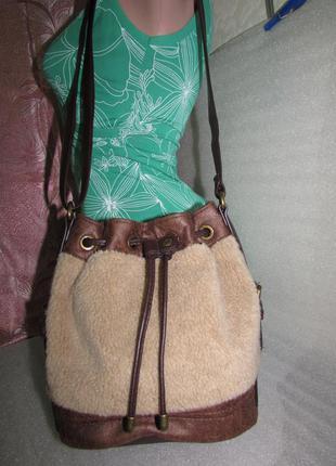 Стильная меховая сумка торба ~indigo collection~ от m&s новая