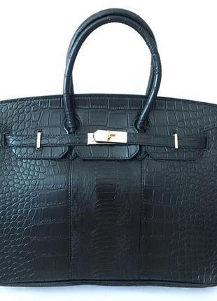 Кожаная черная сумка шопер, классика, hermes