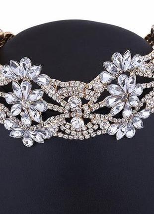 Акция! дешево! роскошное ожерелье колье украшение чокер в камнях и кристаллах