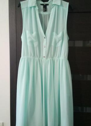 Мятное платье h&m с поясом