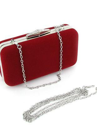 Красная велюровая маленькая вечерняя выпускная сумочка клатч-бокс через плечо