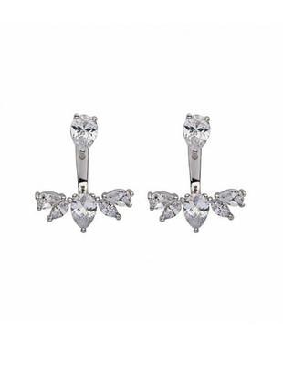 Серьги джекеты серебряные с кристаллами