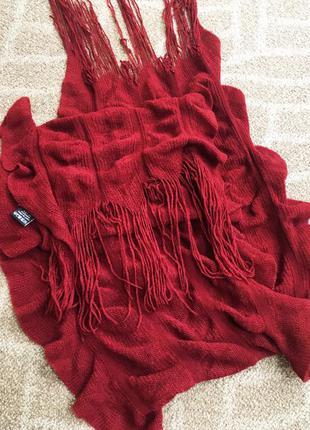 Красный бордовый шарф