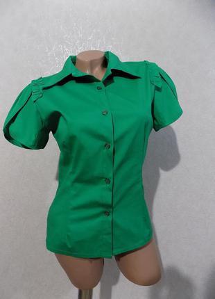 Блузка рубашка коттоновая ярко-зеленая италия размер 42-44