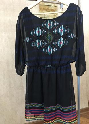 Темно синее свободное шифоновое платье