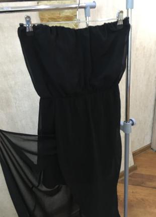 Длинное черное шифоновое платье bershka