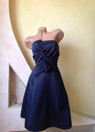 Вечернее темно- синее платье с пышной юбкой h&m