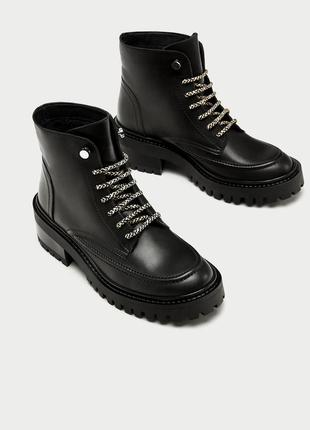 Кожаные ботинки на утепленной подкладке zara