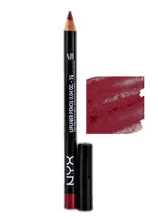 Карандаш для губ nyx slim lipliner pencil (burgundy spl8103)